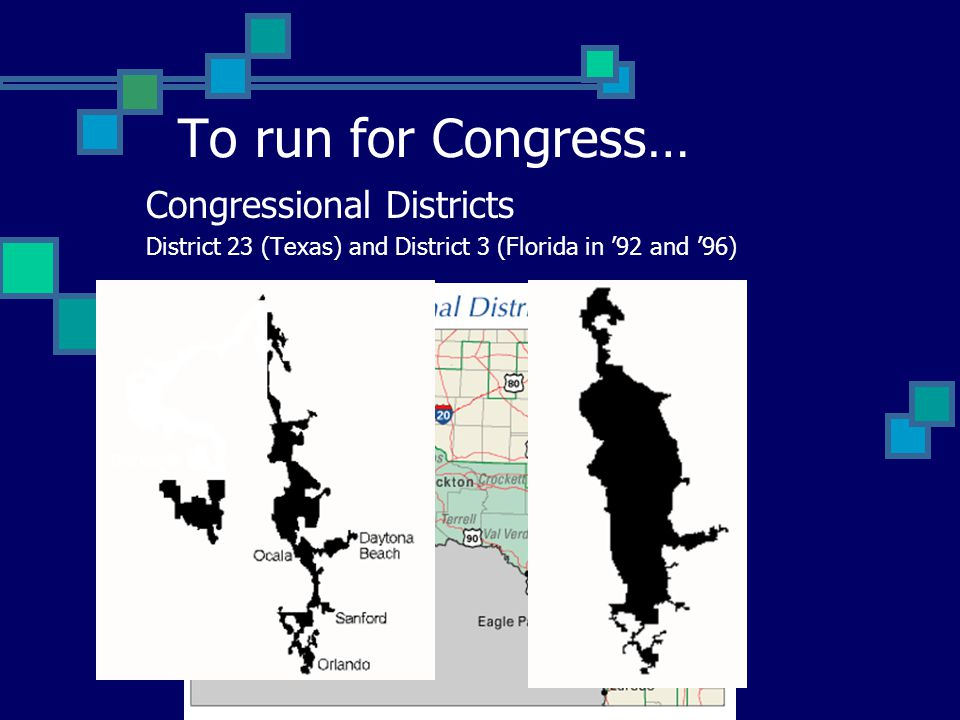 Congressional Districts District 23 (Texas) and District 3 (Florida in '92 and '96) To run for Congress…