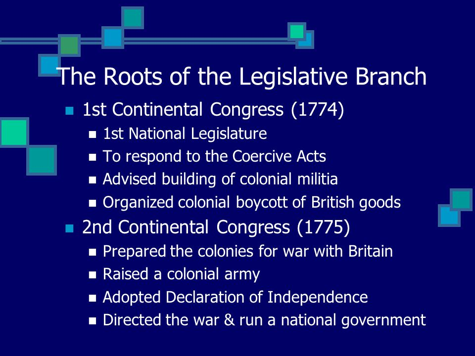 The Roots of the Legislative Branch 1st Continental Congress (1774) 1st National Legislature To respond to the Coercive Acts Advised building of colonial militia Organized colonial boycott of British goods 2nd Continental Congress (1775) Prepared the colonies for war with Britain Raised a colonial army Adopted Declaration of Independence Directed the war & run a national government
