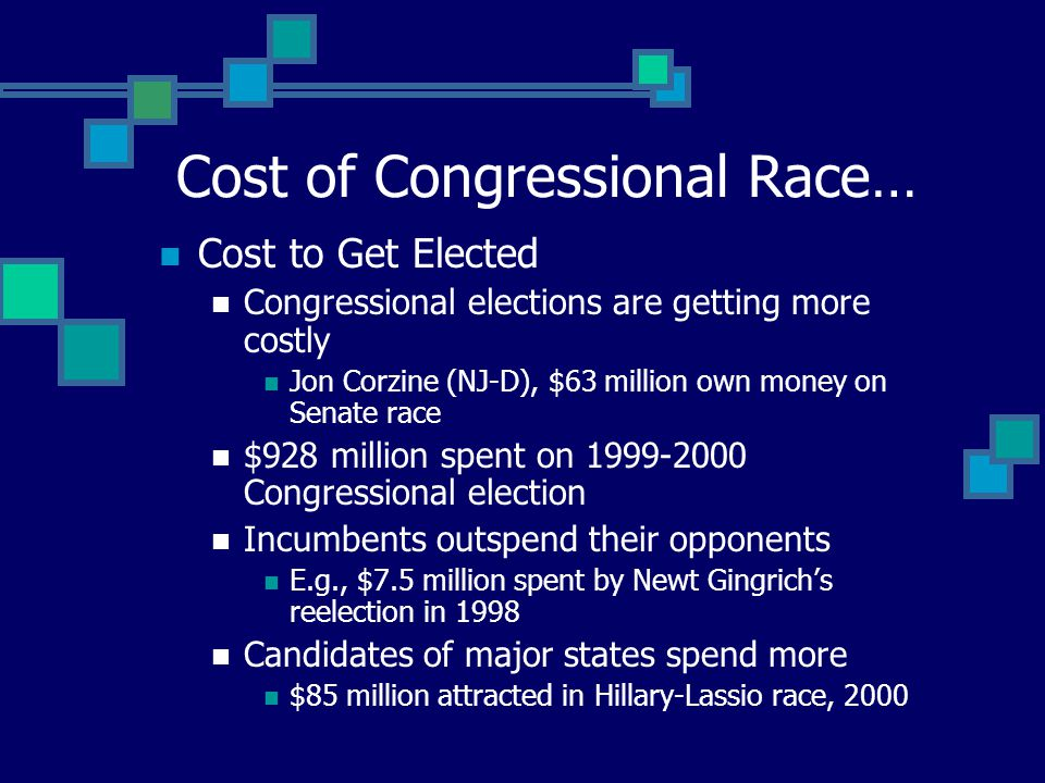 Cost to Get Elected Congressional elections are getting more costly Jon Corzine (NJ-D), $63 million own money on Senate race $928 million spent on 1999-2000 Congressional election Incumbents outspend their opponents E.g., $7.5 million spent by Newt Gingrich's reelection in 1998 Candidates of major states spend more $85 million attracted in Hillary-Lassio race, 2000 Cost of Congressional Race…