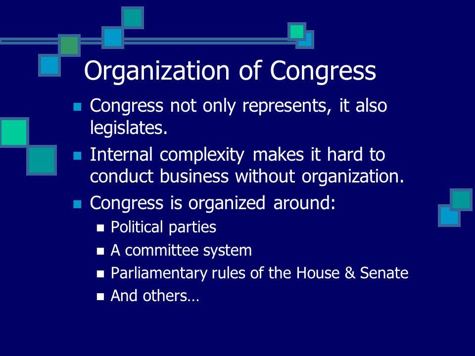 Congress not only represents, it also legislates.
