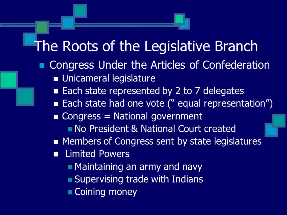 The Roots of the Legislative Branch Congress Under the Articles of Confederation Unicameral legislature Each state represented by 2 to 7 delegates Each state had one vote ( equal representation ) Congress = National government No President & National Court created Members of Congress sent by state legislatures Limited Powers Maintaining an army and navy Supervising trade with Indians Coining money