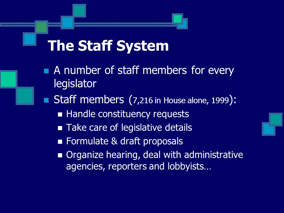 A number of staff members for every legislator Staff members ( 7,216 in House alone, 1999 ): Handle constituency requests Take care of legislative details Formulate & draft proposals Organize hearing, deal with administrative agencies, reporters and lobbyists… The Staff System