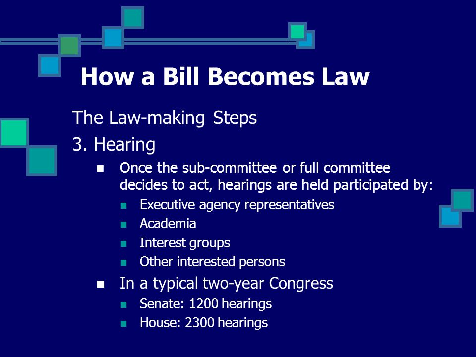 How a Bill Becomes Law The Law-making Steps 3.