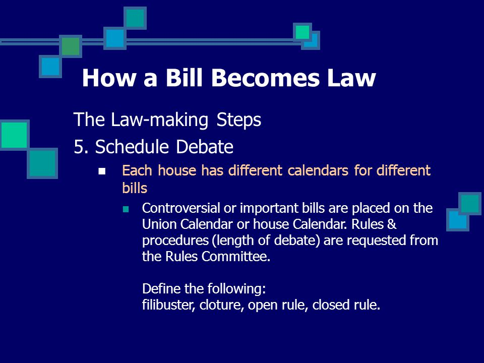 How a Bill Becomes Law The Law-making Steps 5.
