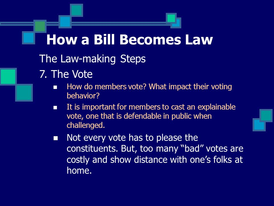 How a Bill Becomes Law The Law-making Steps 7.The Vote How do members vote.