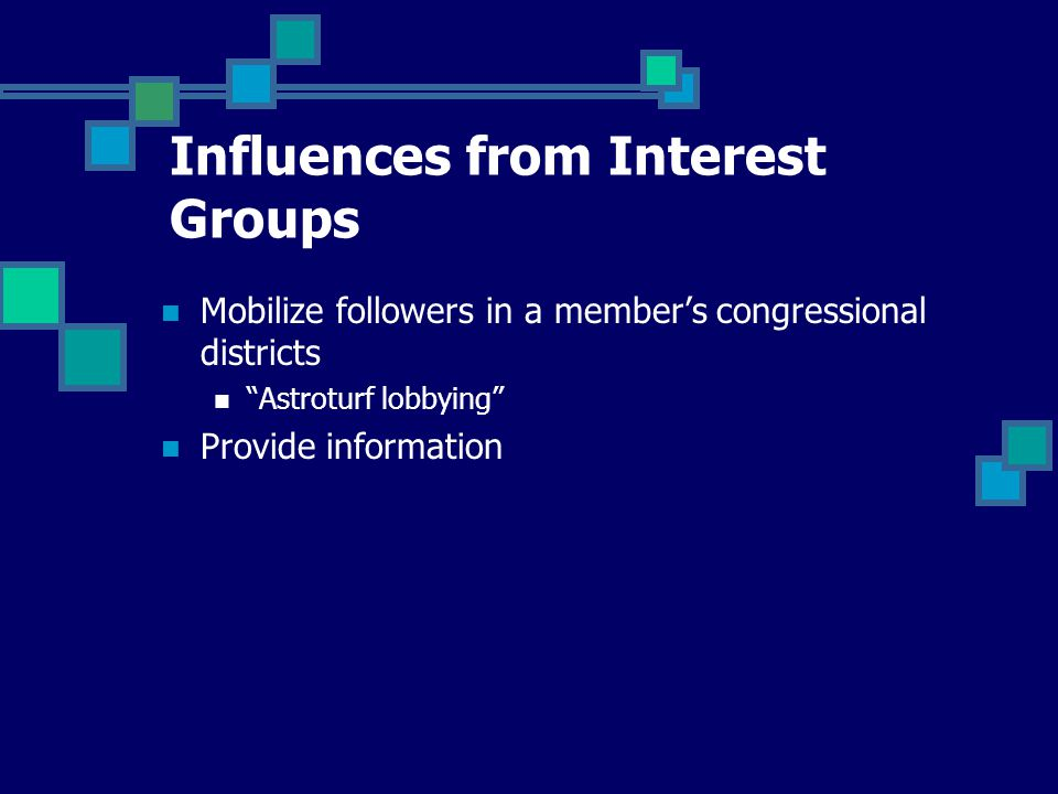 Mobilize followers in a member's congressional districts Astroturf lobbying Provide information Influences from Interest Groups