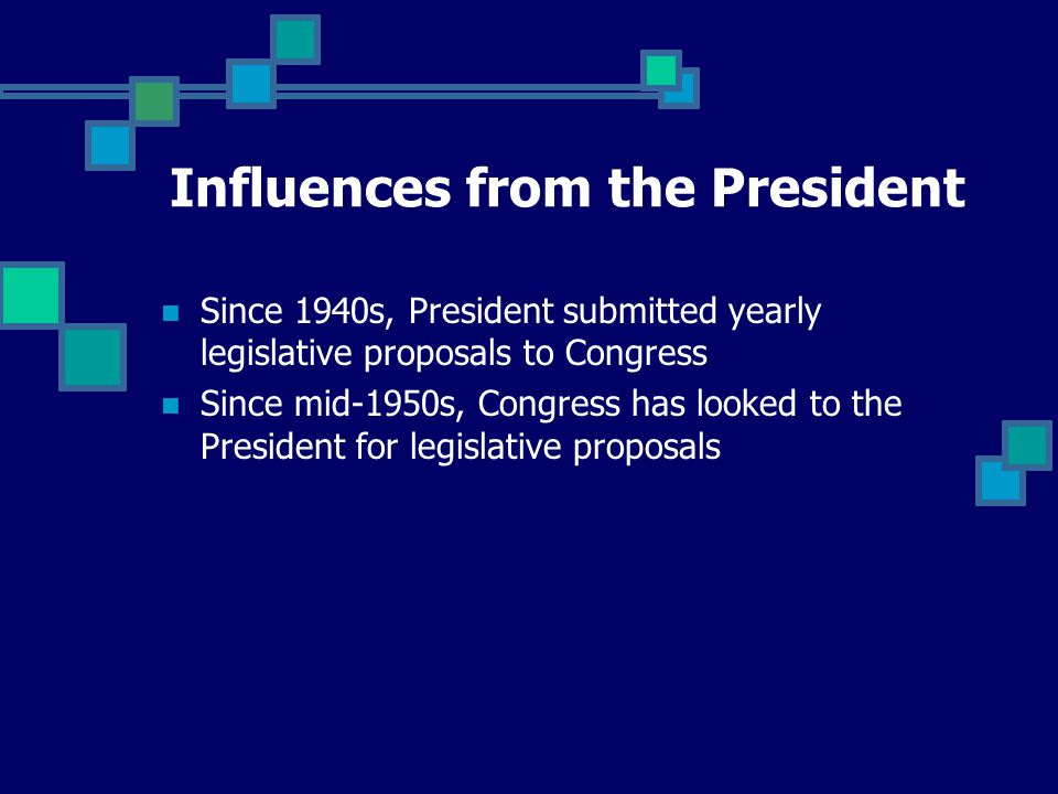 Since 1940s, President submitted yearly legislative proposals to Congress Since mid-1950s, Congress has looked to the President for legislative proposals Influences from the President