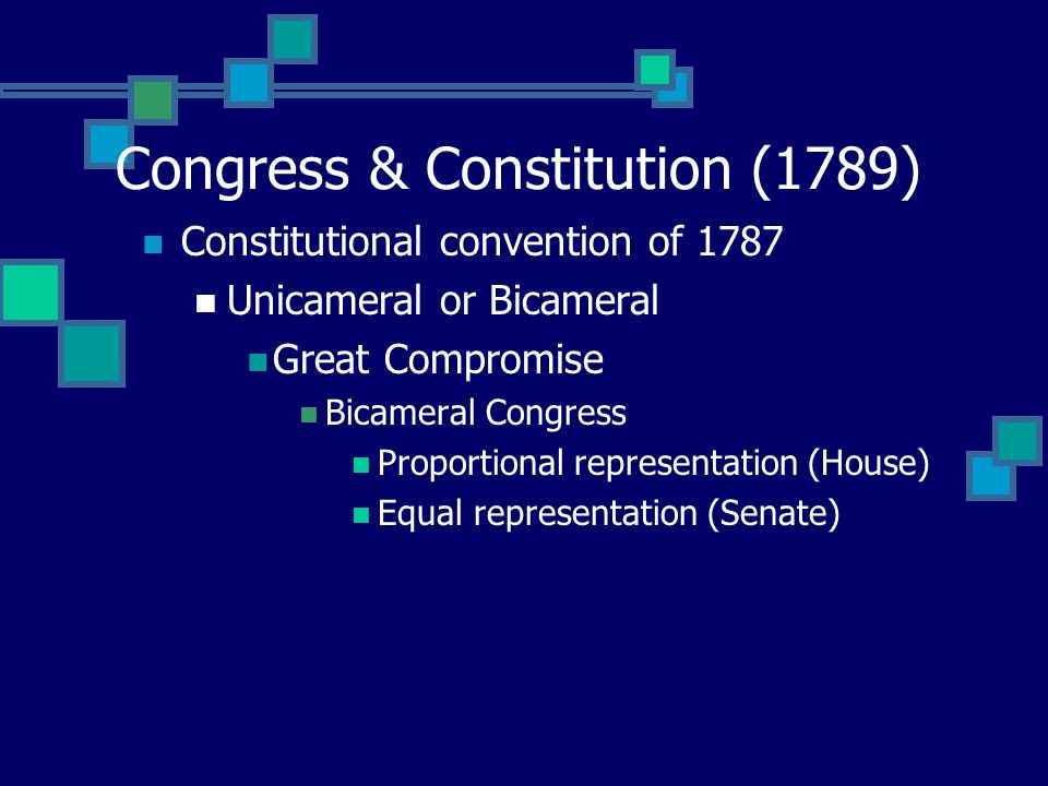 Congress & Constitution (1789) Constitutional convention of 1787 Unicameral or Bicameral Great Compromise Bicameral Congress Proportional representation (House) Equal representation (Senate)