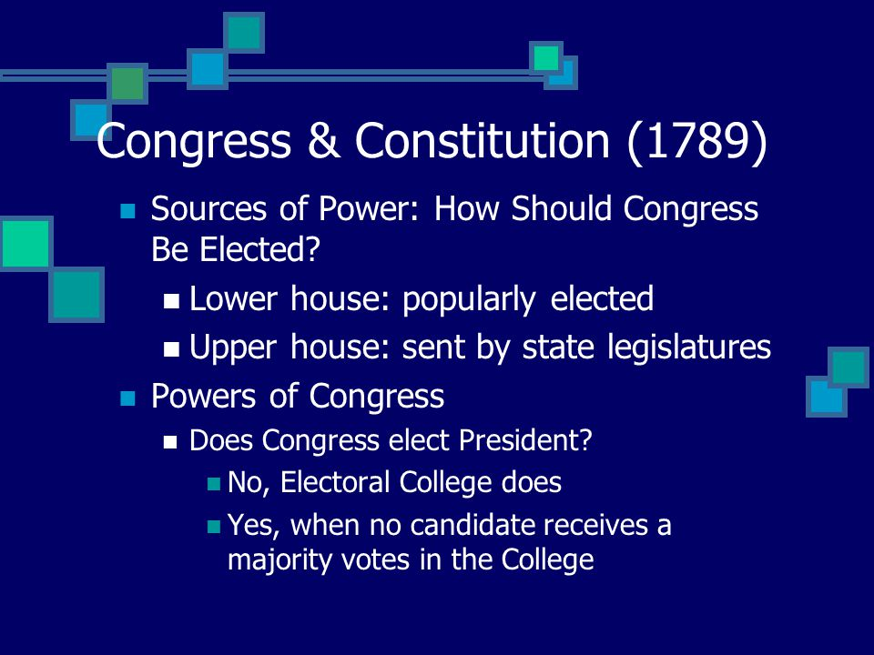 Congress & Constitution (1789) Sources of Power: How Should Congress Be Elected.