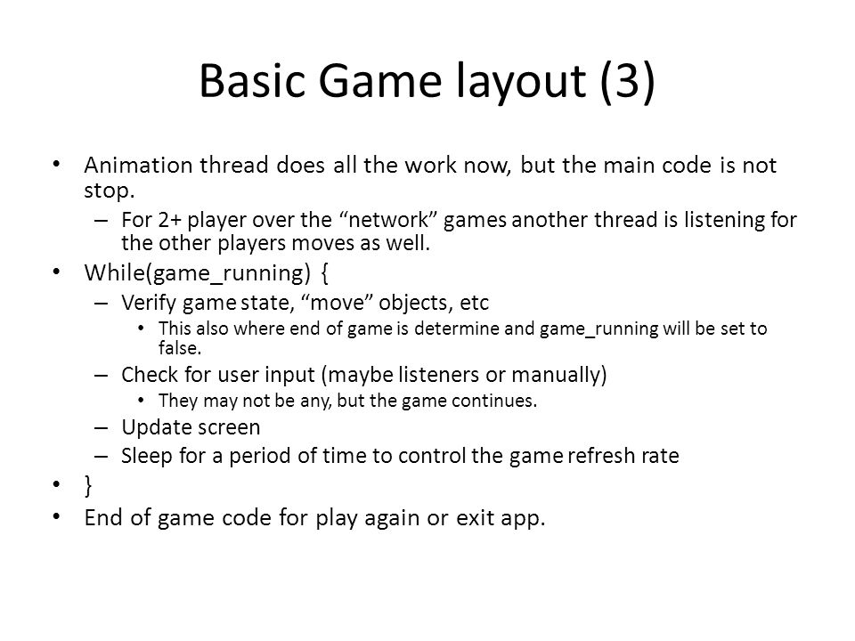Example Game The example for the rest of the lecture will be a simple space invaders game.