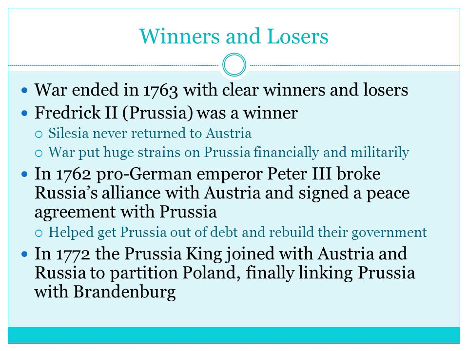Winners and Loser cont.Austria-loser  Austria was heavily weakened in terms of debt.