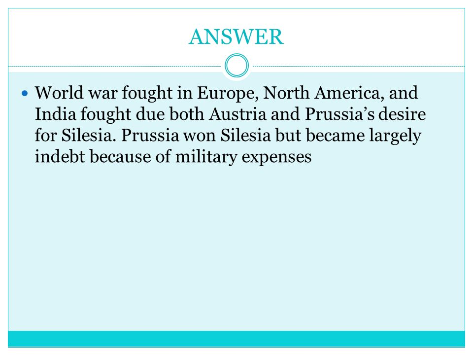 Question What were the sides in the WAR OF AUSTRIAN SUCCESSION?