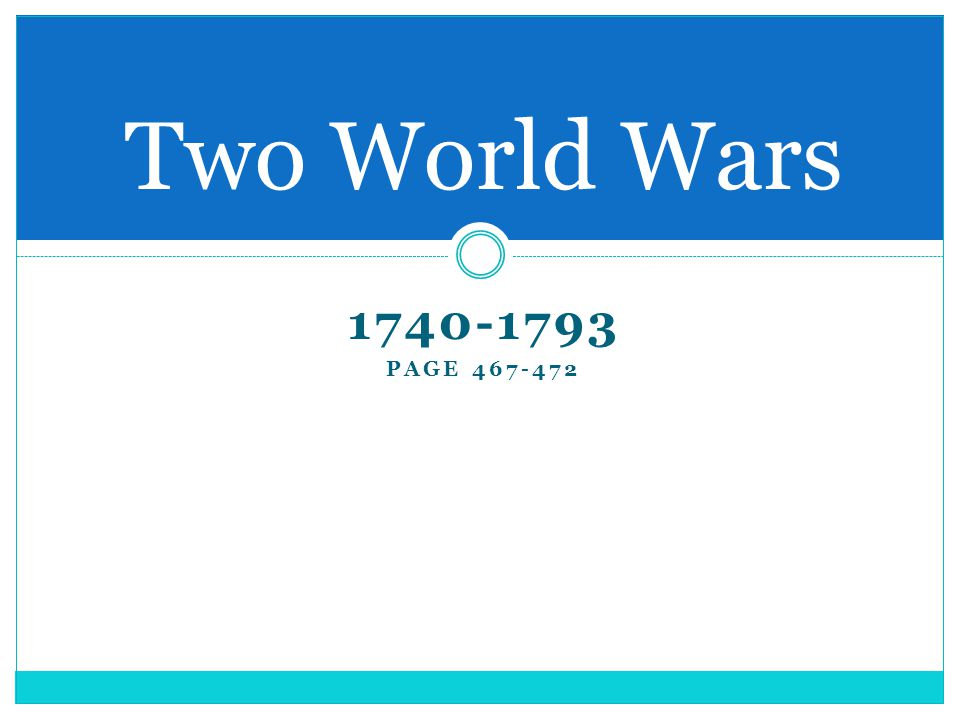 The wars The War of Austrian Succession 1740-1748  Britain and Austria vs.