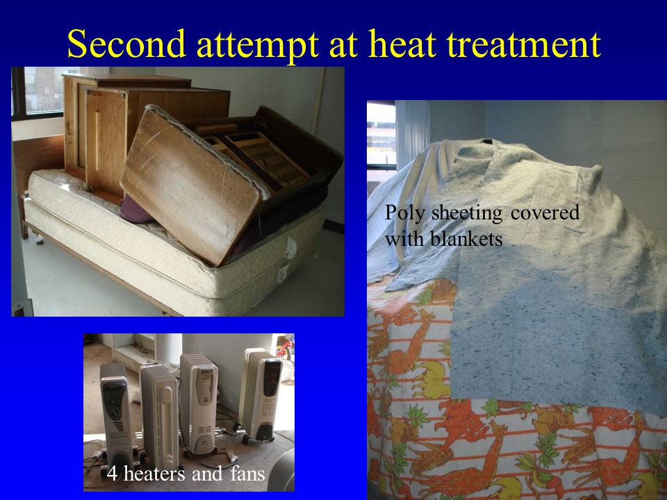 Second attempt at heat treatment Blankets 111.2 F 108.7 F Started: 9:30 AM Ended: 3:07 PM 69.882.2100.2106.7 F FF 75.484.9125.2131