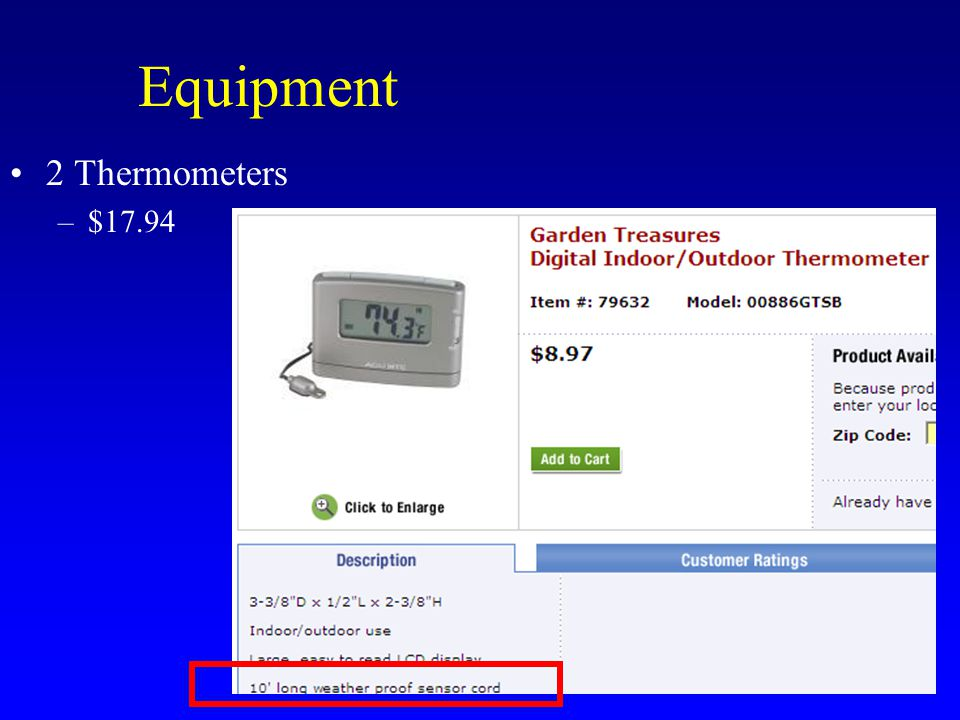 Equipment Costs $312.89 2 Space heaters 6 Polystyrene sheets 2 Box fans 1 Oscillating fan 2 Thermometers 2 Extension cords; power strip Duct or packing tape