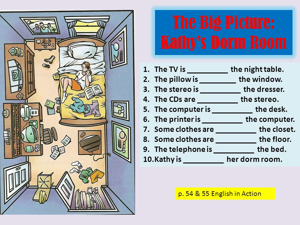 The Big Picture: Kathy's Dorm Room p.55 English in Action 1.Is the bed on the right.