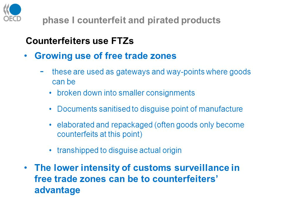 Frequently used transit points for automotive parts phase I counterfeit and pirated products