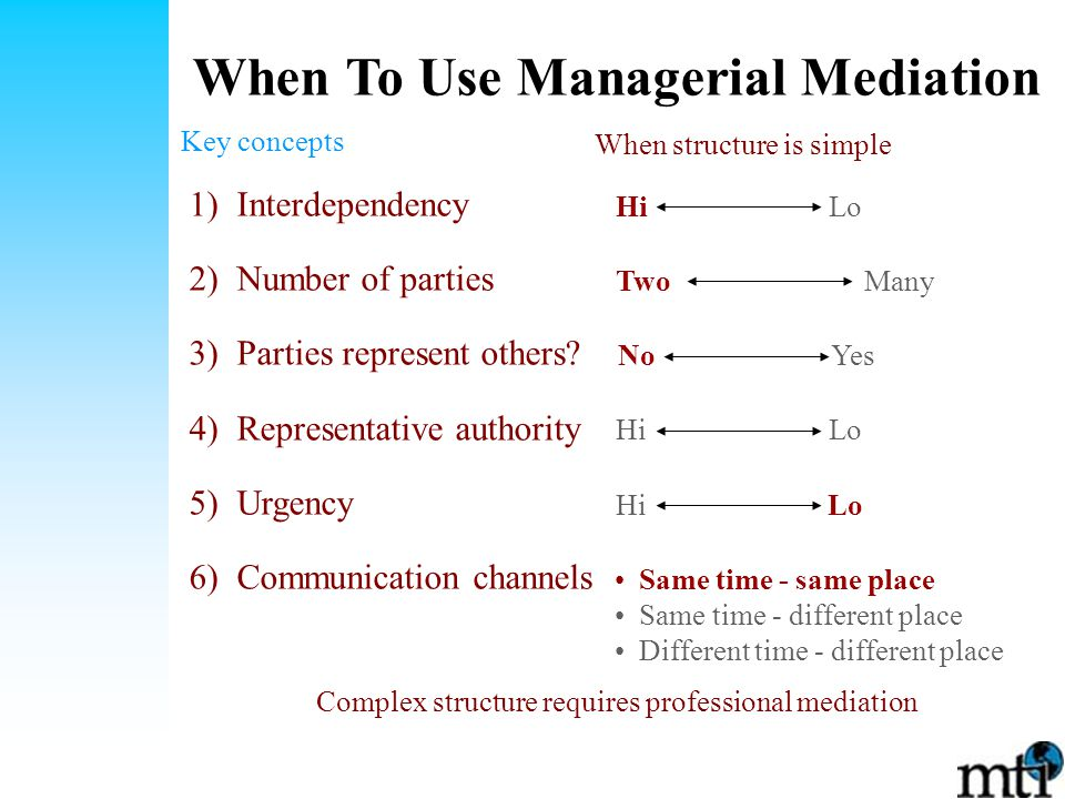 When To Use Managerial Mediation Key concepts 1) Interdependency 2) Number of parties 3) Parties represent others.