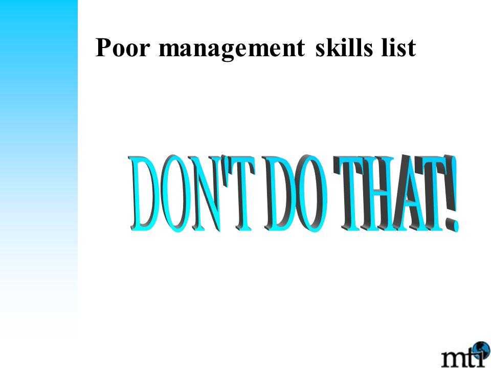 Poor management skills list