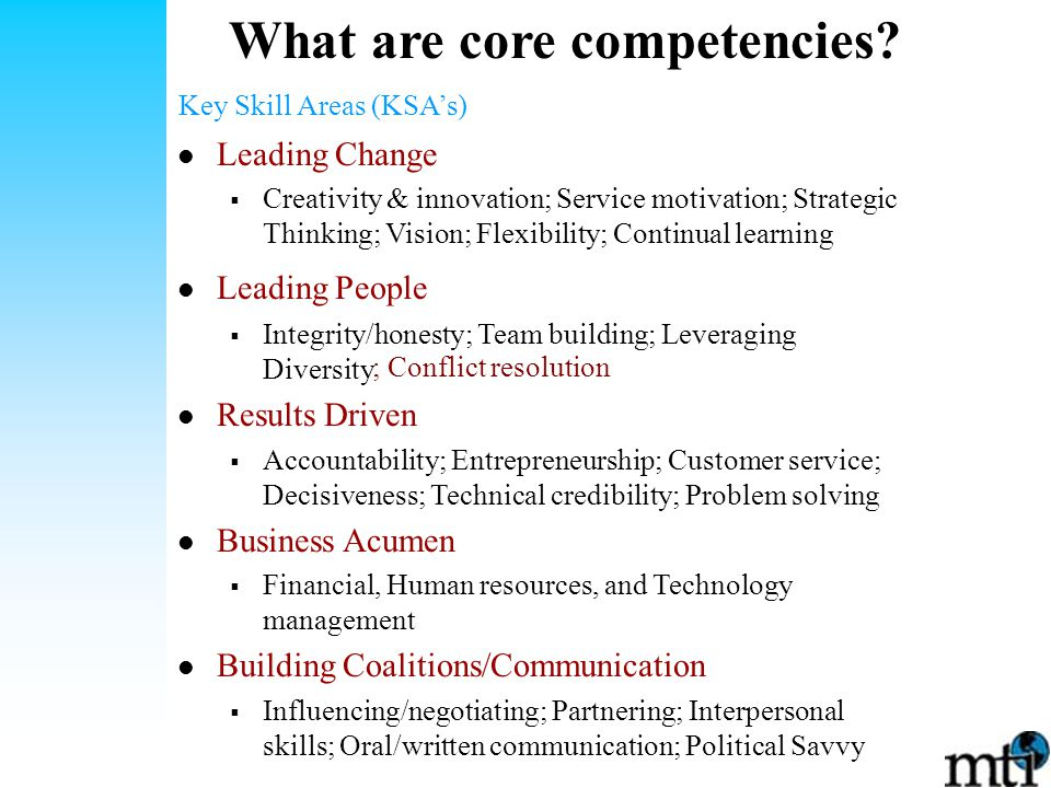 What are core competencies.
