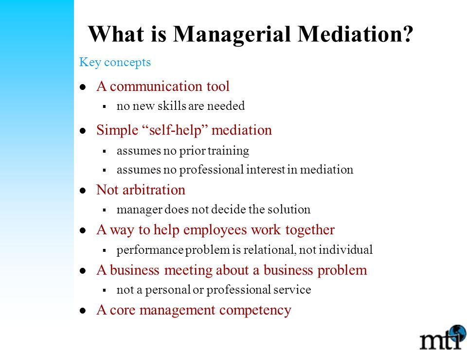 What is Managerial Mediation.