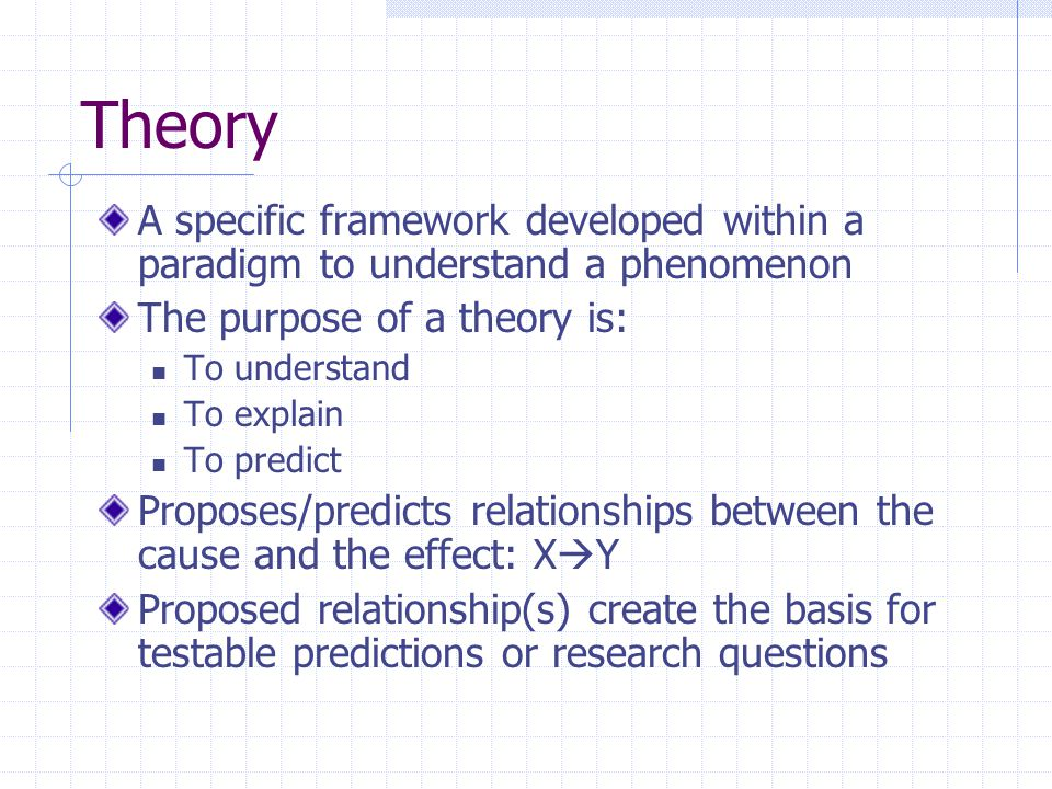 Basic Components of a Theory Concepts Conceptualization=applying words to a mental image; it is the process used to specify what we mean with the use of specific terms Creates concepts=words or symbols used to convey meaning and relationships Concepts can be interpreted in many ways Concepts are measurable in this form—requires a process of operationalization or turning concepts into variables