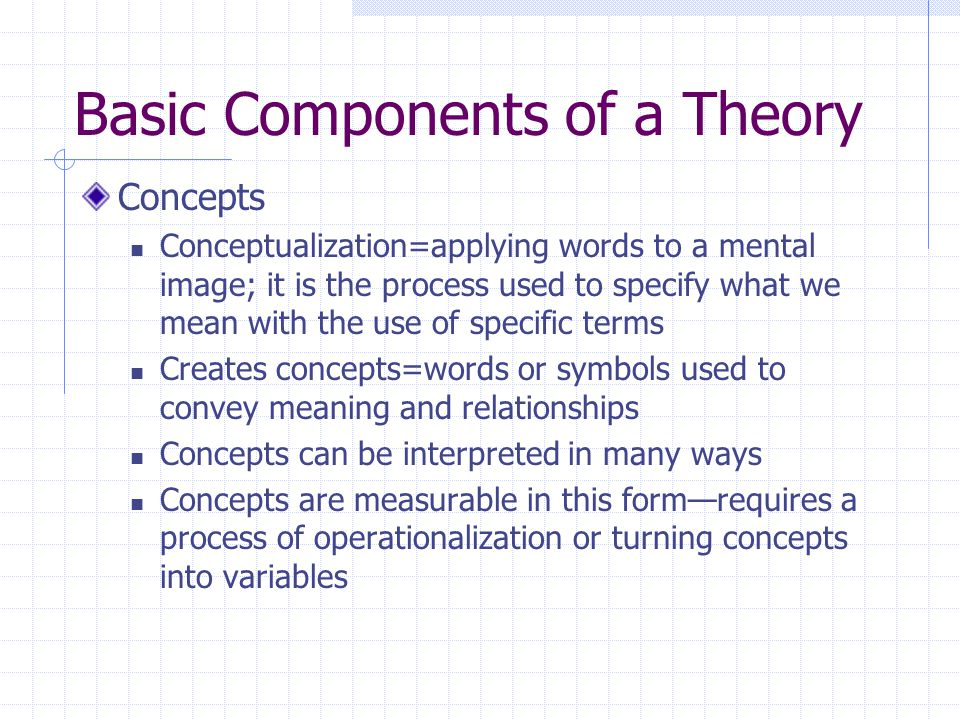 Components of a Theory, Cont'd.