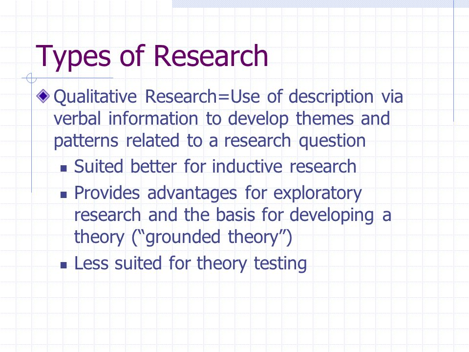 Types of Research, Cont'd.