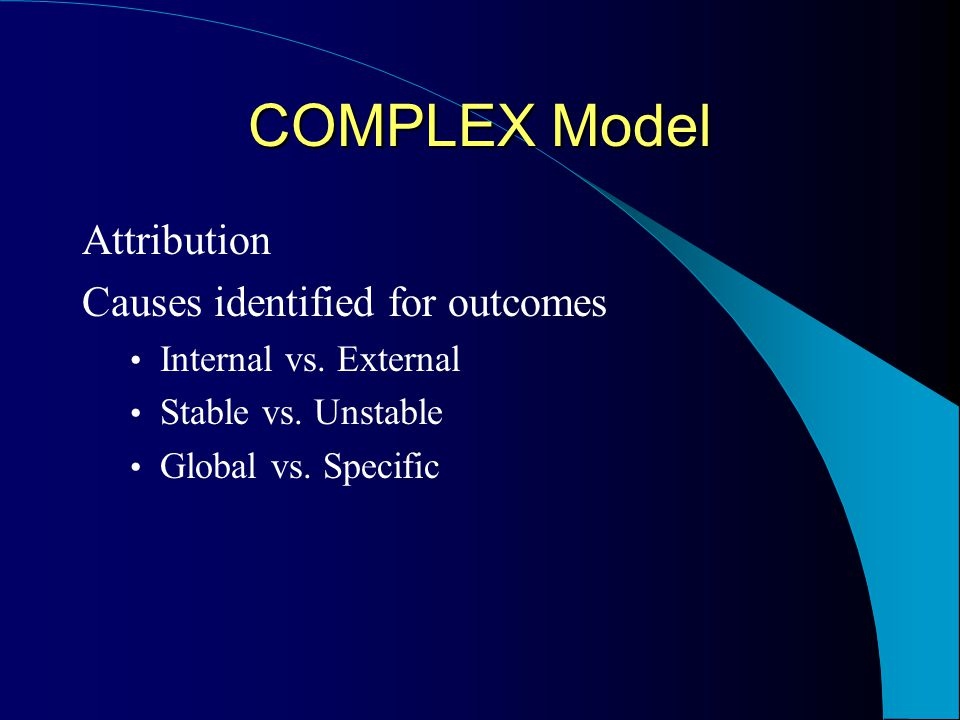 COMPLEX Model Blueprint COMPLEX Model Blueprint StrategyTheory/Content/Messages Create GoalsPurpose of the educational experience OrientArousal MotivateExpectancy Valence Expectancy: If I concentrate on my breathing, I can be in control of my stress response.