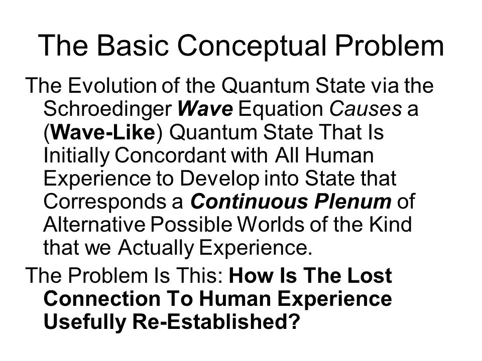 Von Neumann Identifies Two Key Components of the Quantum Dynamics: Process 1 and Process 2 Process 1 is an action that divides the current Quantum State of the Universe into a part that is compatible with a particular possible experience, and the complementary part that is not.