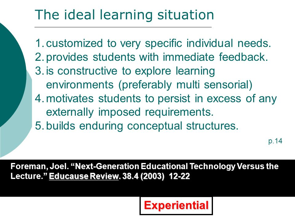 1.Increase teacher-student interaction & feedback 2.Engage students (motivation; involvement) 3.Accelerate student learning 4.Increase experiential learning (gaming; simulations, role playing) 5.Increase learning options 6.Increase peer-to-peer (collaborative) learning 7.Offer more pull web-based learning options 8.Offer more interactive multimedia learning.