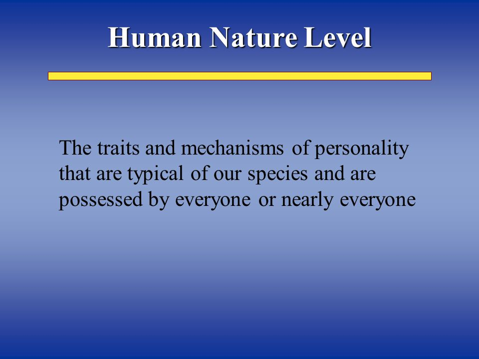 Ways in which each person is like some other people Individual and Group Differences Level Group Differences Level Worriers Risk takers