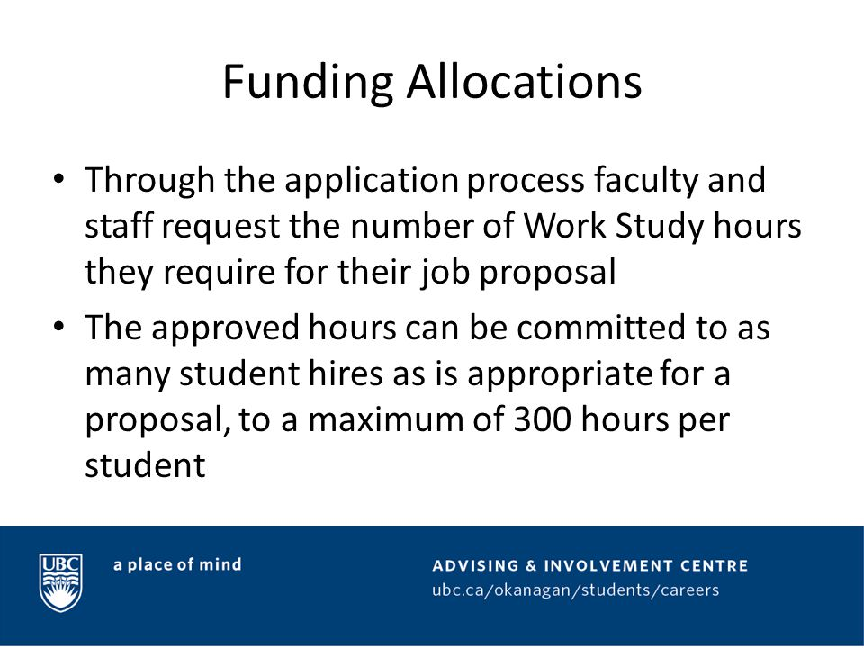 Application Process To apply for Work Study funding a job proposal must be submitted via CareerConnect by the posted deadline The job proposal must clearly identify how the 5 Student Learning Components will be met