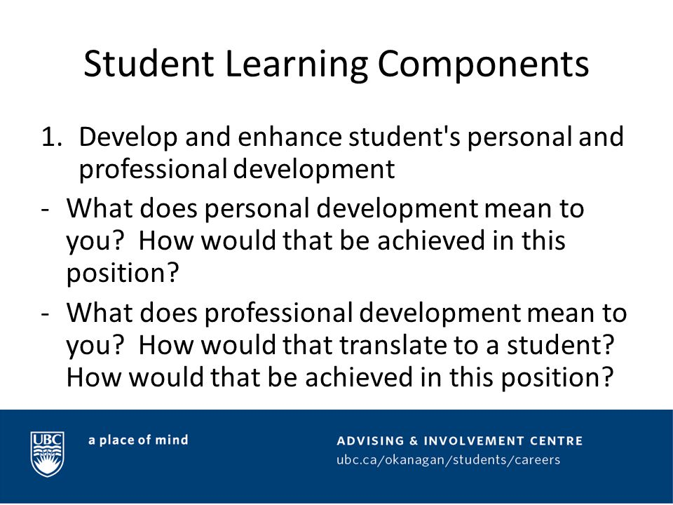Student Learning Components 2.
