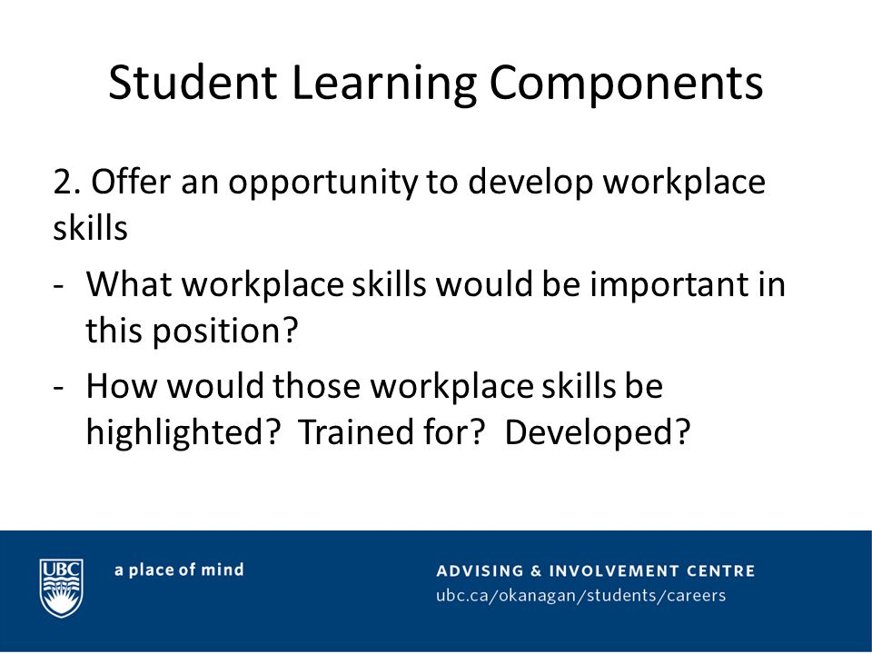 Student Learning Components 3.