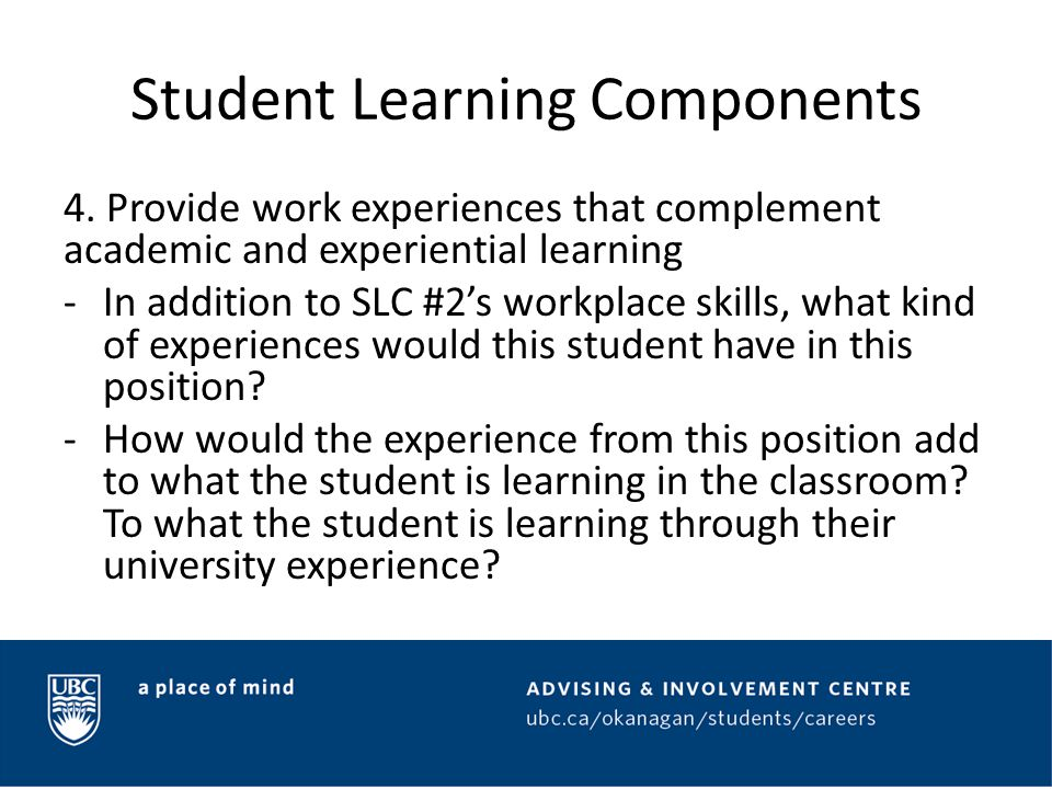 Student Learning Components 5.