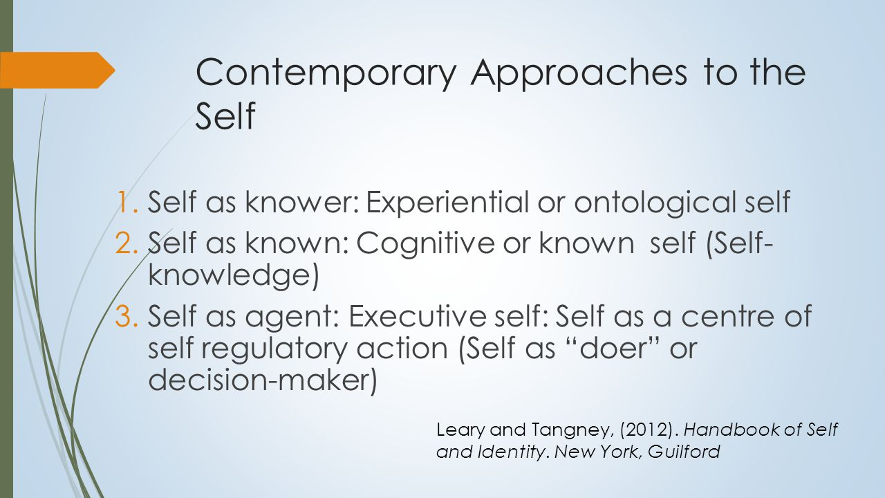 Structure of the Self System Experiential Self Cognitive Self Agentic Self Self-Knowledge Self-Appraisal Differentiation Integration