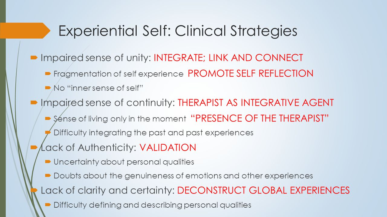 Structure of the Self 2. Self as Known Self as a Knowledge System