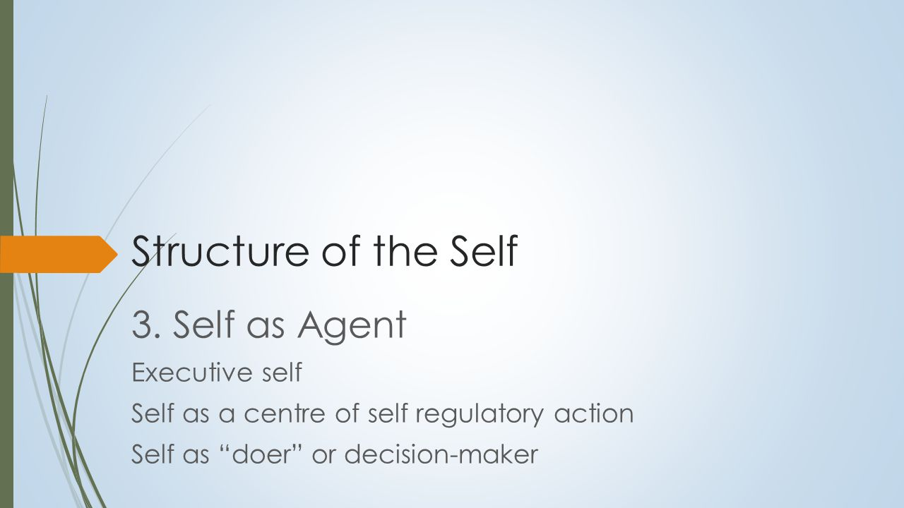 Agentic or Self-Directed Self  Sense of agency and directedness contributes to cohesion and integration  Goals:  Energize  D irect action  Give meaning and purpose to lives (Baumeister, 1989; Carver & Scheier, 1998; Pervin, 1992)  As Allport (1961) noted:  Striving towards a goal confers integration by linking abilities, wants, needs, and traits needed to achieve the goal  Goals form a hierarchy