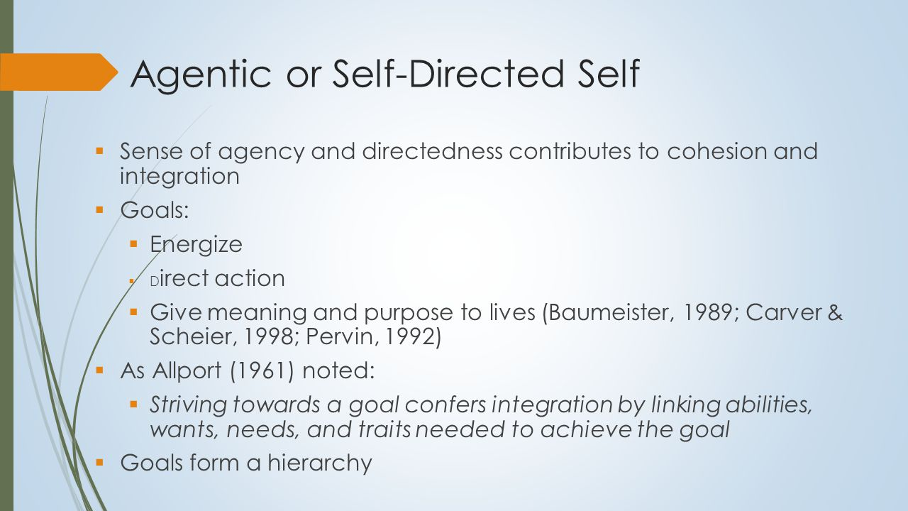 Impaired Sense of Agency in Personality Disorder  Low self-directedness (Cloninger, 2000)  Difficulty setting and attaining long-term goals  Problems with direction and purpose  Difficult to set goals without a sense of clarity about personal wants and desires and sense of authenticity  Many goals are often ought goals imposed by others  People only work consistently to attain personal goals