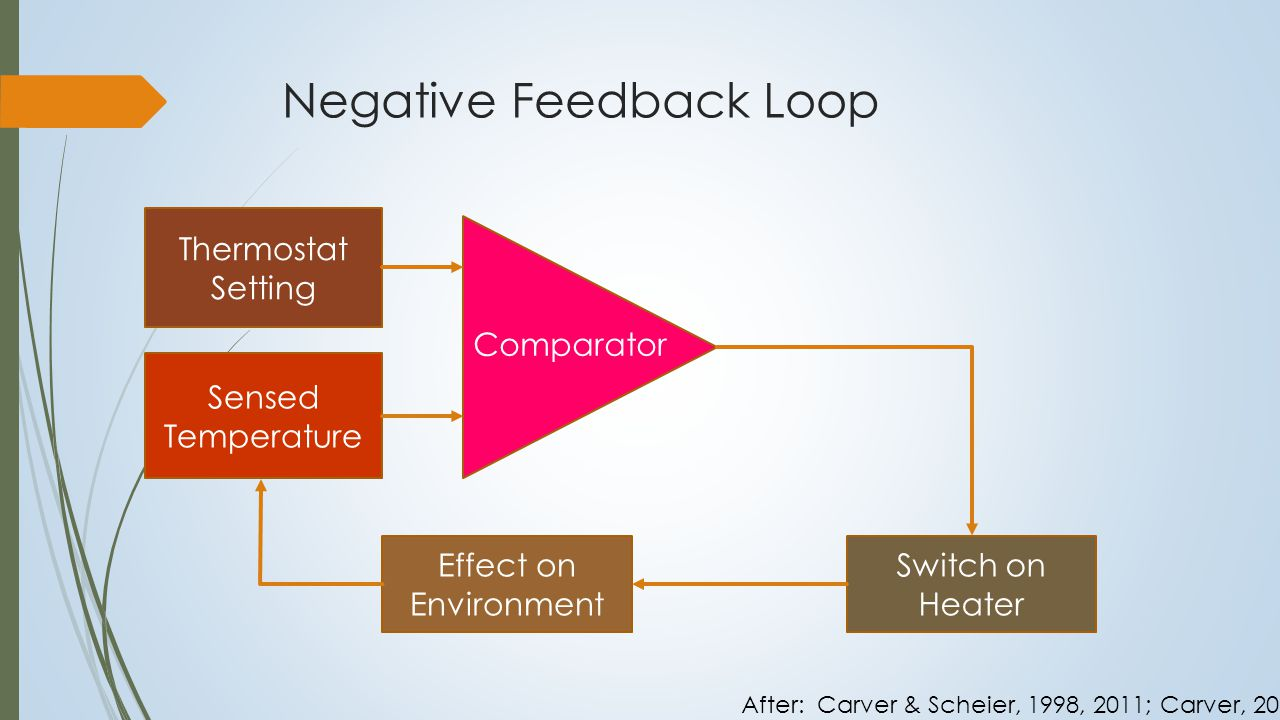 Negative Feedback Loop Goal Standard Reference Value Input Function Comparator Output Function Effect on Environment After: Carver & Scheier, 1998, 2011; Carver, 2012
