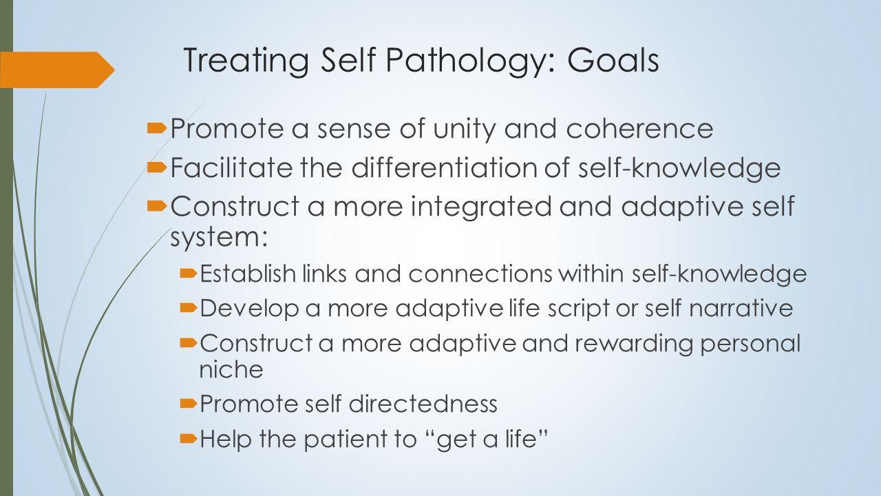 Treating Self Pathology: Goals  Promote a sense of unity and coherence  Facilitate the differentiation of self-knowledge  Construct a more integrated and adaptive self system:  Establish links and connections within self-knowledge  Develop a more adaptive life script or self narrative  Construct a more adaptive and rewarding personal niche  Promote self directedness  Help the patient to get a life Integration arises from: i.Connections within self referential knowledge ii.Self-directedness