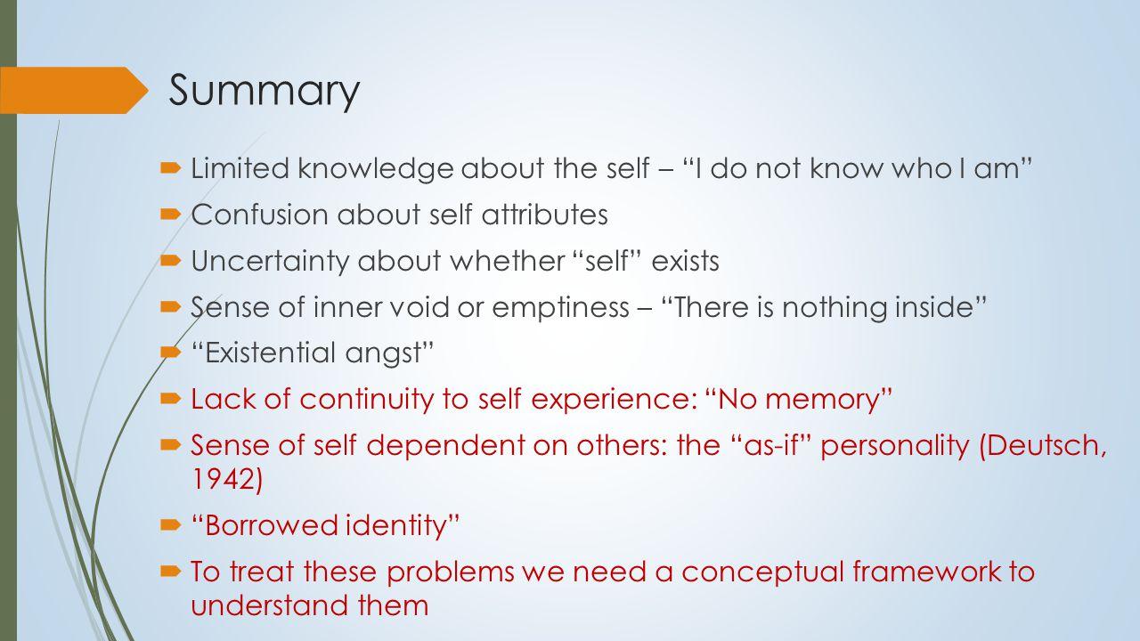 Self Pathology: Does it matter.