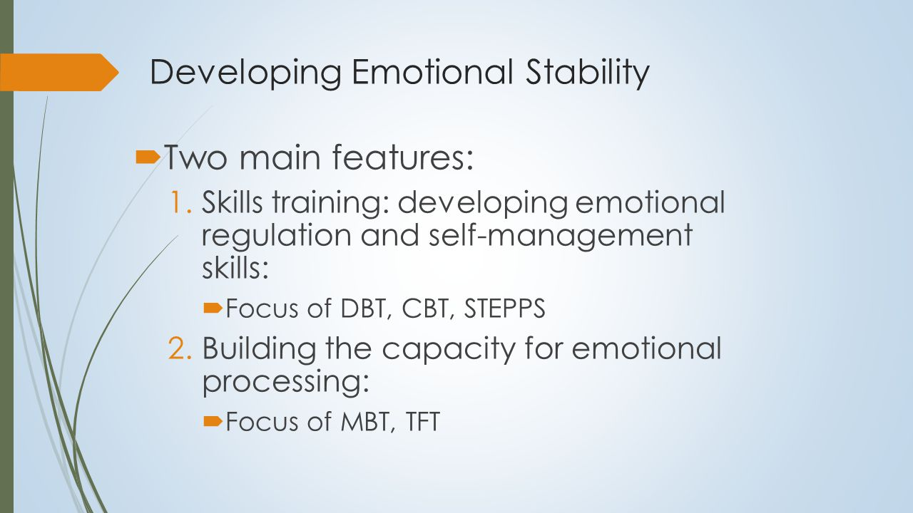 Emotional Regulation and Modulation and Intervention Modules Regulation and Modulation Awareness & Recognition Re-structuring Escalating Cognitions Acceptance & Tolerance Psycho-education Self-Regulation Skills Re-structuring Cognitive Appraisal