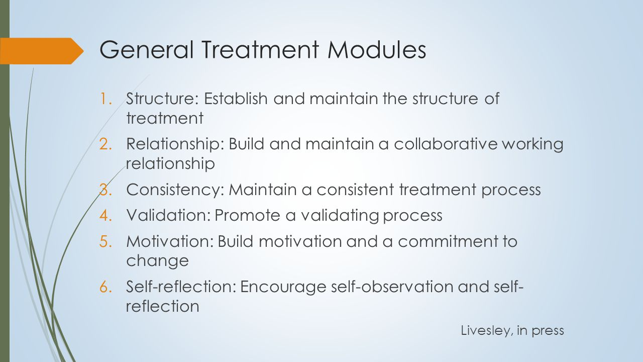 Generic Treatment Strategies  Treatment relationship:  Importance of a consistent experience of the self in relationship with the therapist  Therapist as keeper of the self  Validation and strengthening the ontological self:  Validation and the authenticity of experience  Increasing self-knowledge:  Repetitive linking of different components of personality at all levels of the personality system  Promoting self-reflection:  Critical mechanism in the formation of the self system