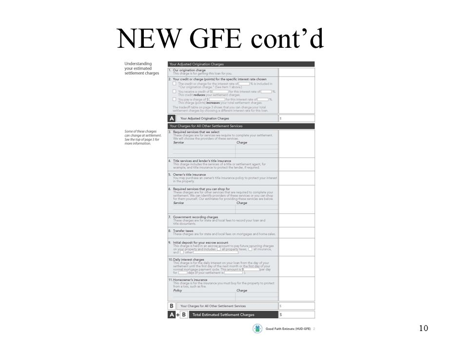 11 NEW GFE cont'd Page 2 –Origination Fee –3 rd Party Loan Fees –Title Fees –Owners Title Insurance (separate) –Other Services –Recording Fee –Transfer Tax (if on GFE buyer must pay with front page credit) –Escrows –Interest –Homeowners Insurance