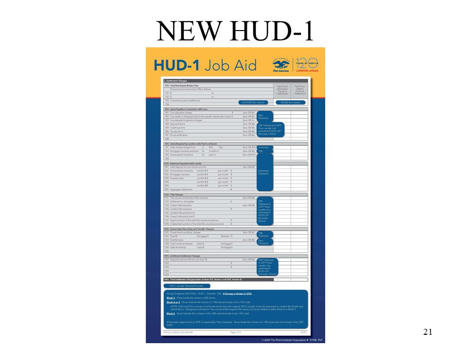 22 NEW HUD-1 Second Page –Made to look like the GFE –Fees divided by Box Number –801 & 802 Outside the Column (in text area only) –803 In the Column (what is charged to the borrower) –804-808 In the Column –901-904 In the Column –1001 In the Column –1002-1007 Outside the Column –1100 Series Title Charges /Box 4 Charges Title Exam Document Preparation Attorney Fee Lender's Title Insurance –Owners Title Insurance Premium Disclosed Separately