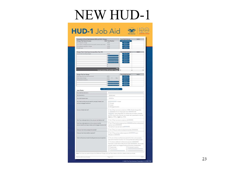 24 NEW HUD-1 Page 3 –Completely New –GFE Estimates Left column –HUD1 Actual Right column –Grouped by Tolerance –Bottom of the Page Recap of loan terms