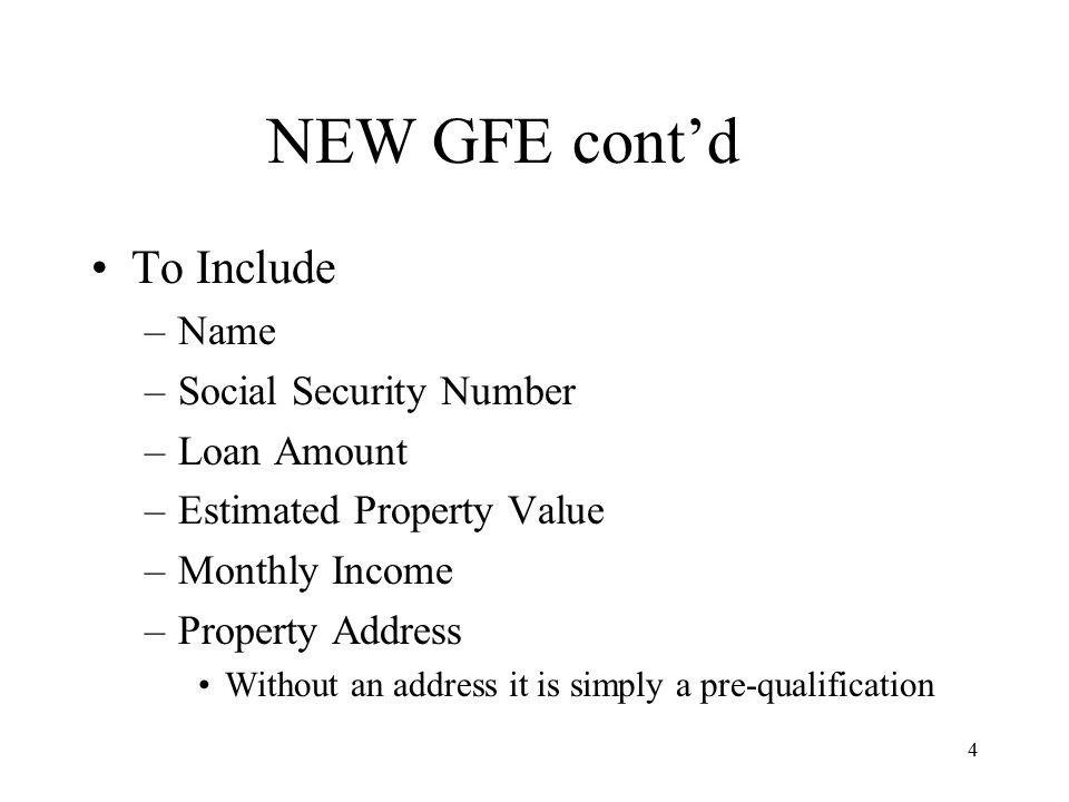 5 NEW GFE cont'd