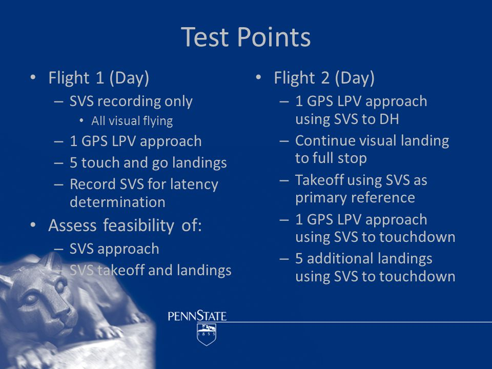 Test Points Flight 3 (Night) – SVS recorded only – 3 touch and go landings at night with data and video recording using normal flight displays and instruments Assess feasibility of: – Night SVS approach – Night SVS landings Flight 4 (Night) – 1 night GPS LPV approach and landing using SVS
